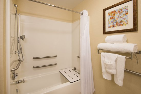 West Middlesex, Pensilvania: Accessible bathroom in our deluxe rooms.