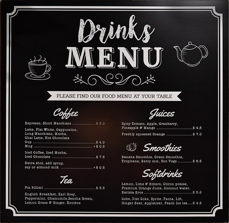 drinks menu picture of al forno the cafe busselton tripadvisor