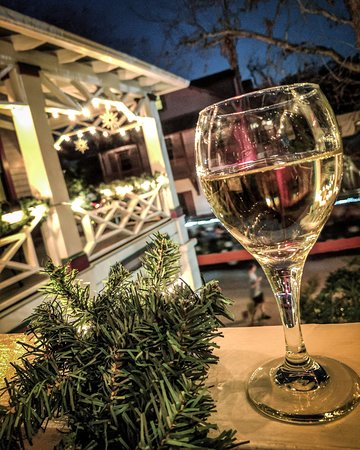 The Old Powder House Inn: Wine-ing down with Christmas lights and watching trolleys go by.
