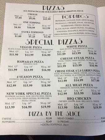 New York Pizza Menu as of 12/16/2016