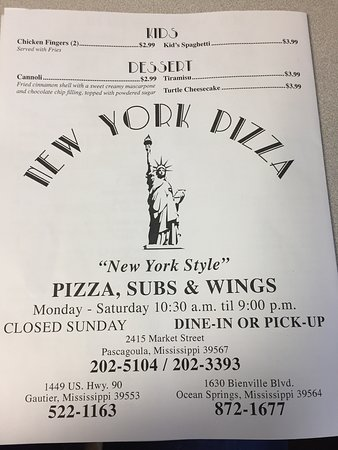 New York Pizza Menu as of 12/16/2016