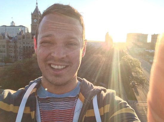 Salt Lake City Public Library : Selfie from the top/sunset/old city building and grand America in back