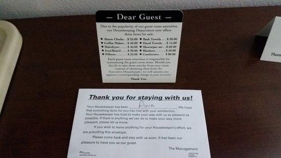 BEST WESTERN Parker Inn: Tip Envelope and Item Price List