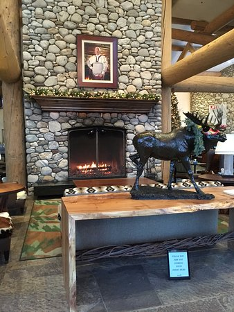 Sun Valley, ID: Fireplace inside the front door of the River Run lodge.