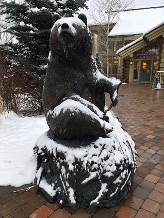 Sun Valley, ID: Bear during snowfall.
