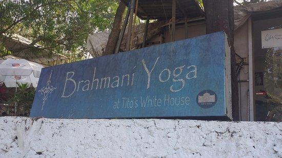 Anjuna, India: Brahmani Yoga sign at entrance