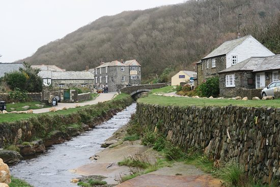 Quaint buildings adjacent to the stream in Boscastle