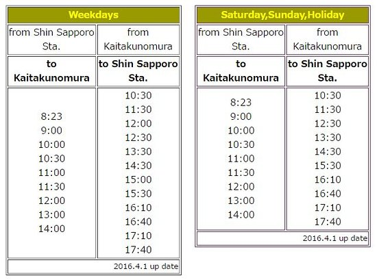 Bus schedule between Shin Sapporo subway station and Historical