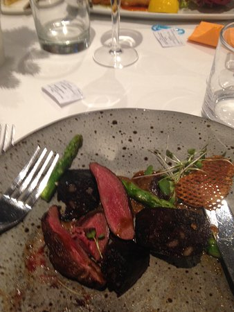 Lymm, UK: Pigeon and black pudding