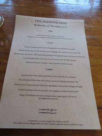 Lunch Menu - Picture of The Harwood Arms, London - TripAdvisor