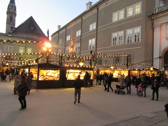 Hotel Wolf : One of the Christmas Markets in Salzburg in early evening.