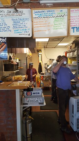 "Skoogies Chicago Style Deli: Kevin James and ""the good Looking Guy"" in the open kitchen"
