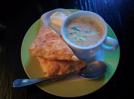 Mahone Bay, Canada: Corn Chowder and Biscuit