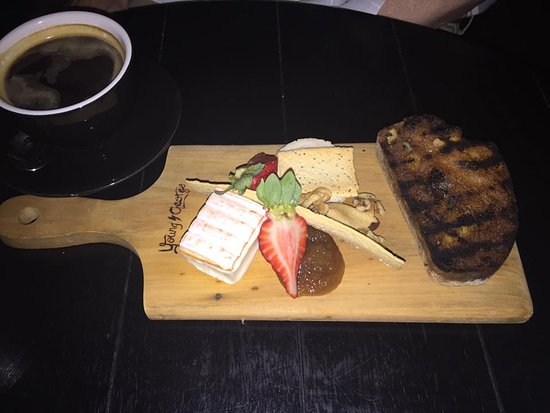 East Fremantle, Australia: Bribers triple cream sheep's cheese (bottom left) with toasted fruit bread, crackers, nuts and f