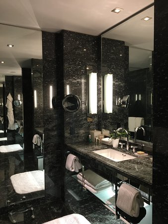 The Hazelton Hotel: luxurious vanity with mirrors everywhere!
