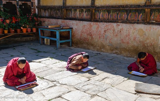 Bumthang District, Bhutan: Young monks studying at the temple
