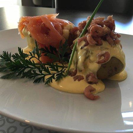 Evergem, เบลเยียม: Aardappel met garnaal en zalm