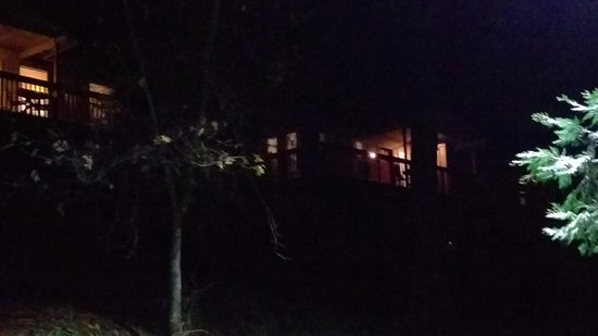 Midpines, CA: View of the cabin at night.