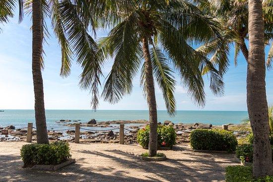 Sanya Daxiaodongtian Area: Пальмы и море на берегу в парке