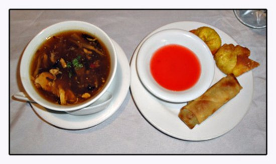 Asian Bistro: Hot and sour soup, crab rangoons and spring roll that came with lunch special