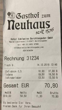 hohe rechnung f r entt uschendes essen und trinken bild von gasthof neuhaus berchtesgaden. Black Bedroom Furniture Sets. Home Design Ideas