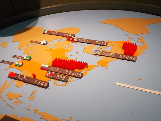 Nagasaki On World Map.Display Of The World Map Showing Nuclear Stockpiles Picture Of