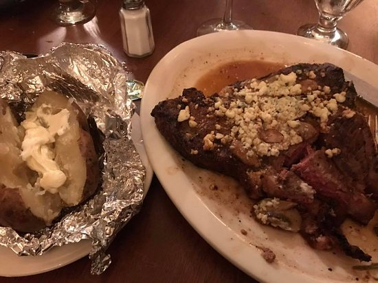 Mr. Dominic's on Main: 30 oz T-bone with blue cheese and mushrooms