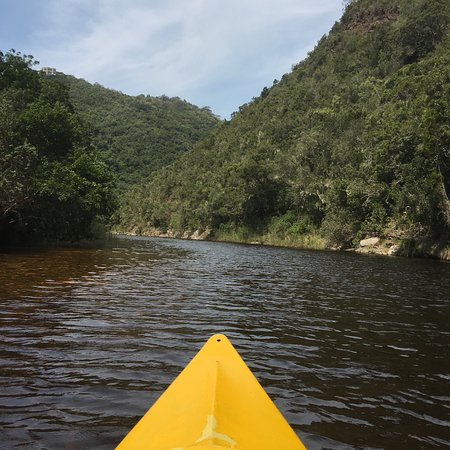 Deserto, África do Sul: canoeing back from the waterfalls