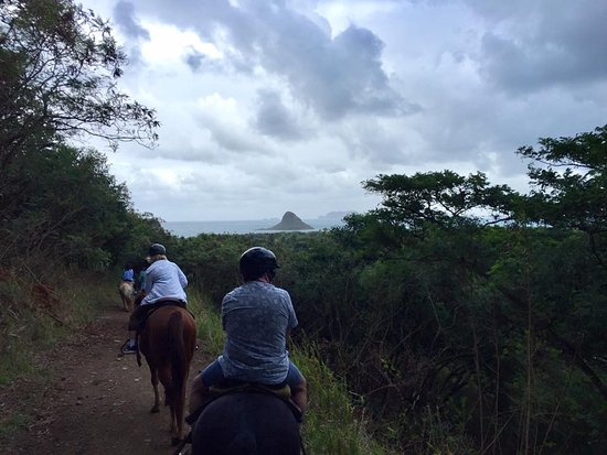 Kaneohe, HI: Horseback riding with Chinaman's Hat in the background