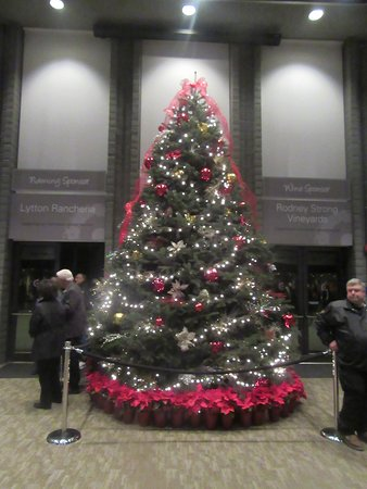 christmas tree in lobby december 2016 luther burbank center for the arts santa program aaron neville