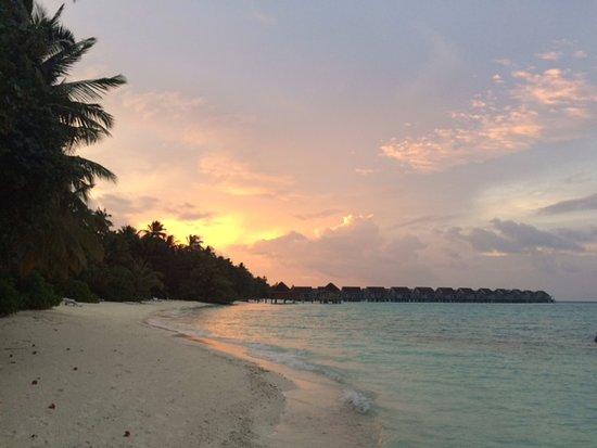 Kuramathi: Stretch of beach opposite the Deluxe Beach Villas