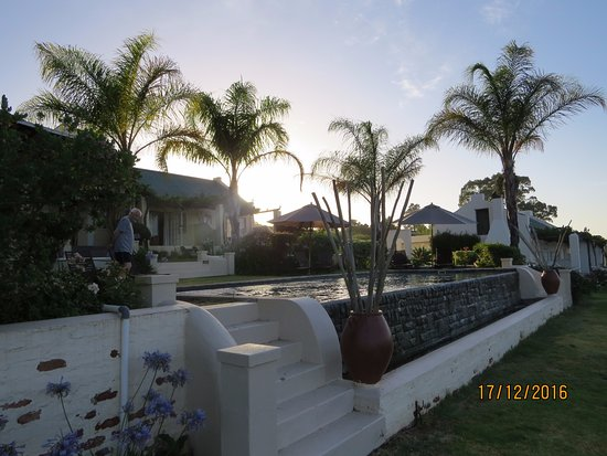 Rosendal Winery & Wellness Retreat: from pool area towards rooms