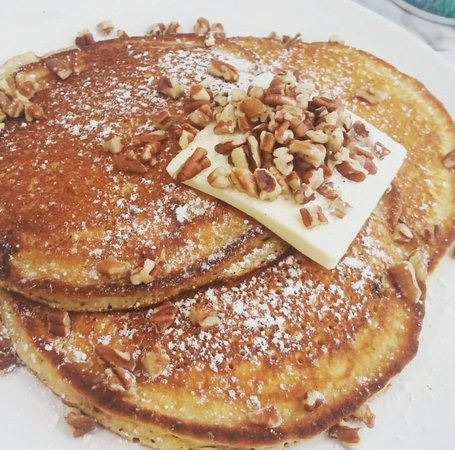 Rise: Scrumptious pecan pancakes and endless coffee! What's not to love?