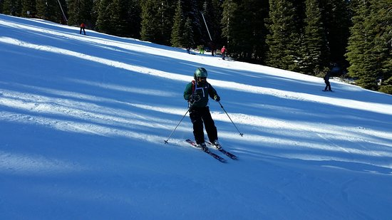 Squaw Valley, Kalifornien: Parallel skis, using pole to make the turn - photo credit David.
