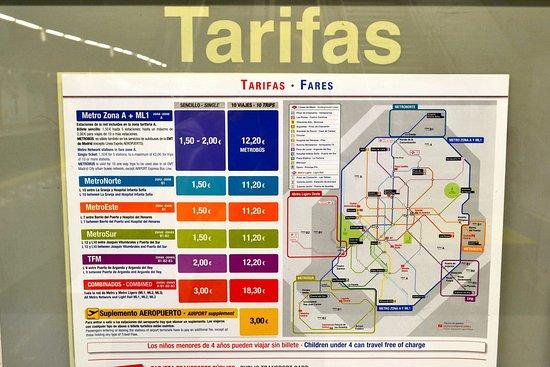 Схема тарифов Picture of Madrid Metro Madrid TripAdvisor