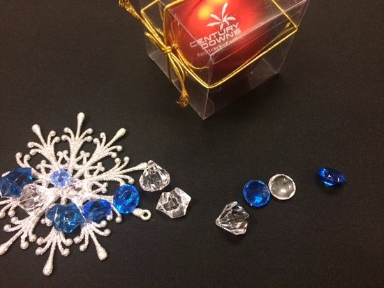 century downs racetrack and casino table decorations and a christmas bulb for everyone