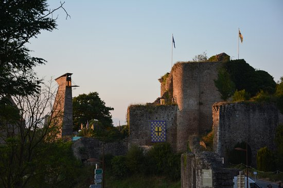 Tiffauges, France : castle view from the city center