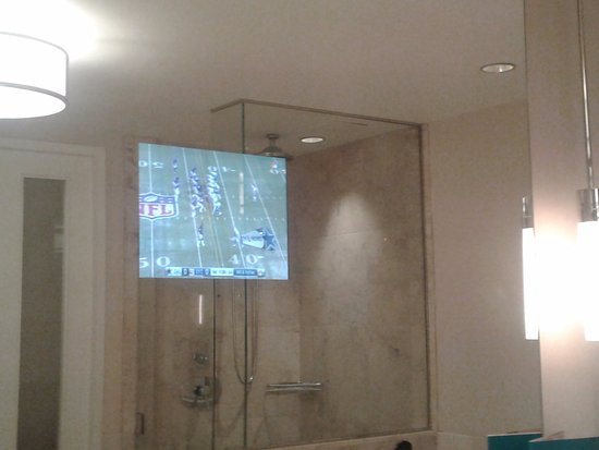 Four Seasons Hotel St. Louis: TV in mirror is a nice amenity.