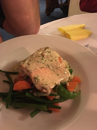 Ridgewell, UK: Salmon off the Christmas menu