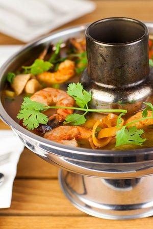 munch thai food sweet tea tom yum soup large in hot
