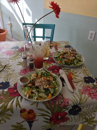 Simply Susanne's Cafe: Fresh tuna salad in a bright and colorful setting