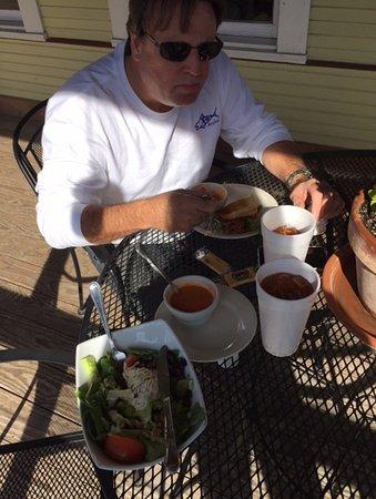 Hamilton, TX: Cranberry chicken salad, Tomato Basil soup, Panini and Peach ice tea