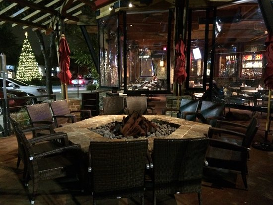 patio fire pit picture of lazy dog restaurant bar addison
