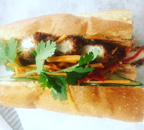Karuah, Australia: Banh mi with freshly crumbed chook, sriracha mayo and a chilli carrot quickly