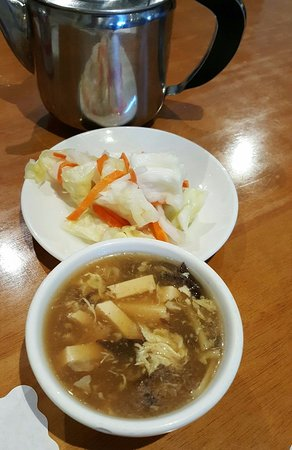 Lomita, CA: Complimentary Pickled Cabbage and Hot & Sour Soup