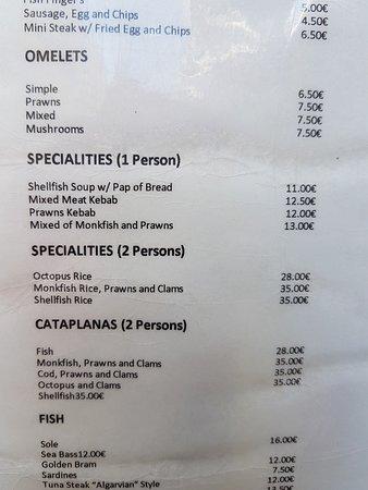 Restaurante Abstracto : Part of the menu