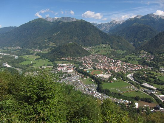 The view to a small castle hill just above Tolmin town with ruins of castle but 360 views