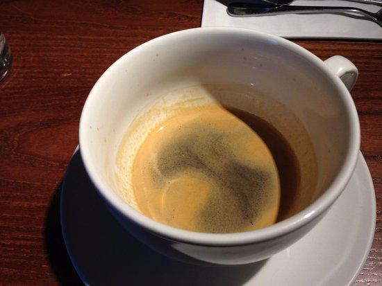 The Swallows Return: Espresso coffee served in a cup the size of a bucket