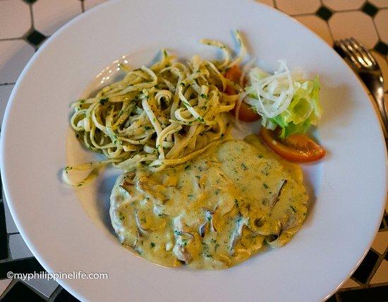 """La Nicoise: """"Veal"""" with mushroom cream sauce"""
