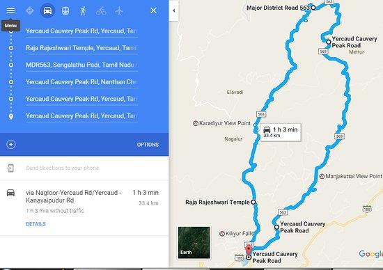 Google Map showing the 32km loop road Picture of 32 km Loop Road